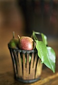 Small pears in a basket