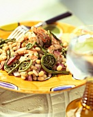 Shrimp, Bean and Fiddlehead Salad
