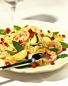 Angel Hair with Sauteed Shrimp and Vegetables