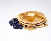 Blueberry Pancakes with Syrup and Blueberries