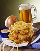 Onion Ring Loaf with a Mug of Beer