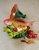 Zutaten für Fischgericht in Tajine