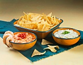 Tortilla Chips and Shrimp with Dips