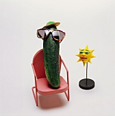 Cucumber with Sunglasses in a Chair; Sun