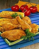 Fried Chicken with Corn on the Cob