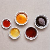 Five assorted caramel sauces