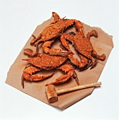 Whole Seasoned Crabs with Wooden Hammer