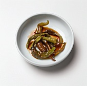 Marinated Chili Peppers in a Small Dish
