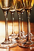 Stiele von mehreren Champagnergläsern
