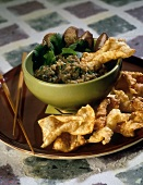 Eggplant Dip with Fried Wontons
