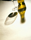 Shadow of Wine Bottle and a Stem Glass