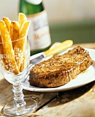 Steak with Fries in a Glass