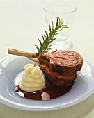 Lamb Chops with Mashed Potatoes and a Sprig of Rosemary