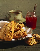 Currant Scones with Jam and Tea