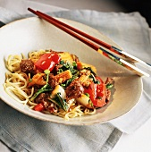 Beef and Red Pepper Stir Fry over Asian Noodles