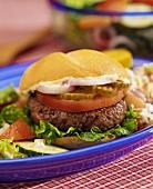 Hamburger with Mayo, Onions, Pickles and Tomato