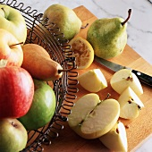 Variety of Apples and Pears with Halves