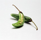 Green Serrano Pepper with a Half of One