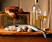 Still Life: Fish, Crab, Clams with a Bottle and Glass of White Wine