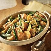 Salmon, Asparagus and Potato Stew with Lemon Dill Sauce