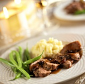 Duck Breast with Port and Cherry Sauce; Green Beans and Mashed Potatoes