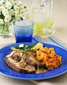 Pork Roast With Gravy and Mashed Sweet Potato