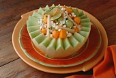 Melon Salad with Jicama and Feta Cheese Served in a Honeydew Melon