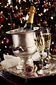 Two Glasses of Champagne with Ice Bucket; Christmas Setting