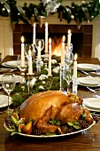 Turkey on a Set Table with Candlelight
