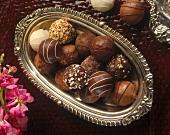 Chocolate Truffles in a Silver Dish