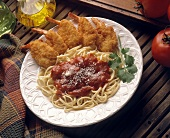 Fried Shrimp with Spaghetti and Marinara Sauce