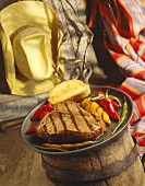 T-Bone Steak with Grilled Peppers and Texas Toast; Western Setting