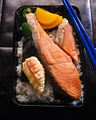 Salted Salmon on Rice in Bento Box