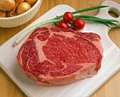 Ribeye Steak on a Cutting Board
