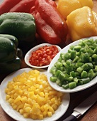 Whole and Diced Bell Peppers