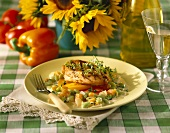 Grilled Chicken with Mangoes and Vegetables