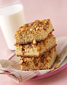 Stacked Pieces of Coffee Nut Cake