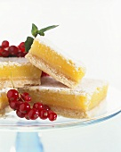 Lemon Squares on Plater with Powder Sugar and Currants