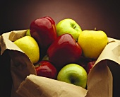 Assorted Apples in a Torn Paper Bag