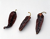 Three Dried Aji Colorado Chili Peppers