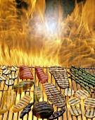Vegetables Being Grilled; Flame Background