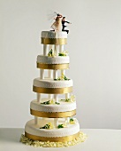 Gold Trim Wedding Cake
