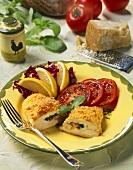 Chicken Cordon bleu with basil