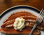 Sliced Flank Steak with Herb Butter
