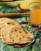 Chapati Bread with a Glass of Chai Tea
