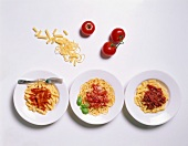 Three Assorted Pasta Dishes with Sauce