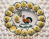 Deviled Eggs on a Platter Resting on Eggs