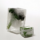 Broccoli and Peas in Blocks of Ice