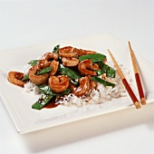 Shrimp and Pea Pods Stir Fry over Rice