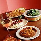 Several Dishes: Tapas, Salad, and Calamari